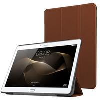 Trifold PU kožené pouzdro na Huawei MediaPad M2 10.0 - hnědé