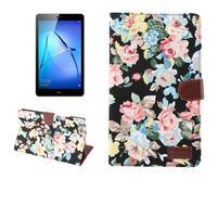 Kvetinové textilné/PU kožené puzdro na Huawei MediaPad M3 Lite 10 - čierne