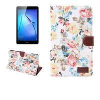 Kvetinové textilné/PU kožené puzdro na Huawei MediaPad M3 Lite 10 - biele