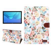 Cloth PU kožené pouzdro na Huawei MediaPad M5 10 - bílé