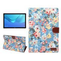 Cloth PU kožené pouzdro na Huawei MediaPad M5 10 - modré