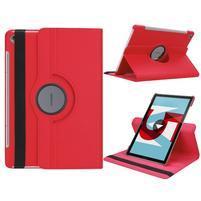 Litchi PU kožené pouzdro na Huawei MediaPad M5 10 - červené