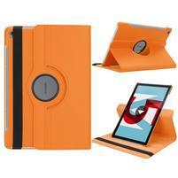 Litchi PU kožené pouzdro na Huawei MediaPad M5 10 - oranžové