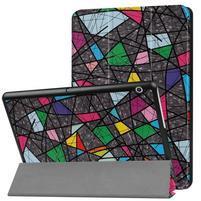 Patty PU kožené zapínací pouzdro na Huawei MediaPad T3 10.0 - abstrakt