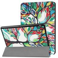 Patty PU kožené zapínací pouzdro na Huawei MediaPad T3 10.0 - malovaný strom