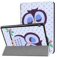Patty PU kožené zapínací pouzdro na Huawei MediaPad T3 10.0 - sova