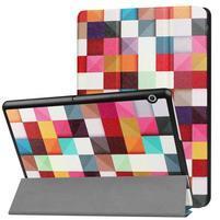 Patty PU kožené zapínací pouzdro na Huawei MediaPad T3 10.0 - kostičky