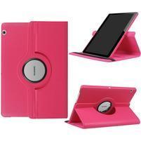 Otočné PU kožené pouzdro na Huawei MediaPad T3 10.0 - rose