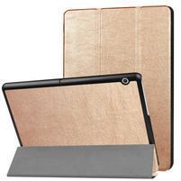 Trifold PU kožené pouzdro na tablet Huawei MediaPad T3 10.0 - zlaté