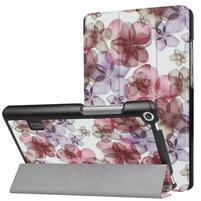 Printy PU kožené pouzdro na tablet Huawei MediaPad T3 7.0 - květy