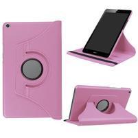 Cyrcle 360° PU kožené pouzdro na Huawei MediaPad T3 8.0 - růžové