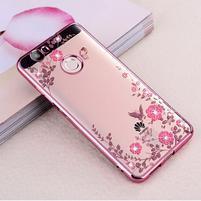 Flower gelový obal s kamínky na Huawei Nova - růžovozlatý
