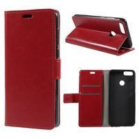 Crazy PU kožené pouzdro na Huawei P Smart - červené