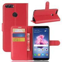 Wallet PU kožené pouzdro na Huawei P Smart - červené
