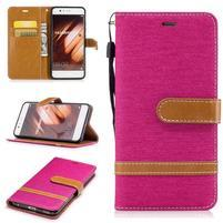 Jeany textilní/PU kožené pouzdro na Huawei P10 - rose