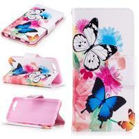 Emotive PU kožené pouzdro na mobil Huawei P10 - květinoví motýlci