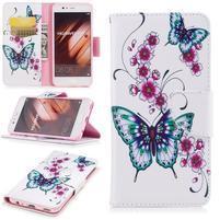 Patty PU kožené pouzdro s motivem na Huawei P10 - motýlci
