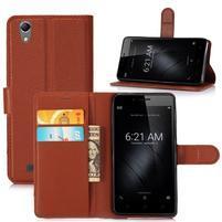 Cross PU kožené pouzdro na mobil Huawei P10 - hnědé