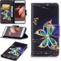 Patty PU kožené pouzdro s motivem na Huawei P10 - zlatý motýlek