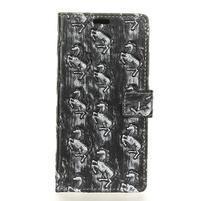 Arts PU kožené knížkové pouzdro na mobil Huawei P10 - šedí koníci