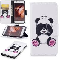 Patty PU kožené pouzdro s motivem na Huawei P10 - medvídek panda