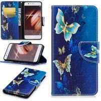 Patty PU kožené pouzdro s motivem na Huawei P10 - kouzelní motýlci