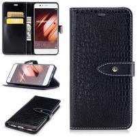 CrocoStyle PU kožené pouzdro na mobil Huawei P10 - černé