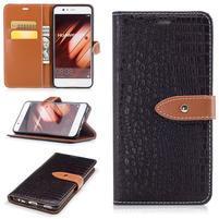 CrocoStyle PU kožené pouzdro na mobil Huawei P10 - hnědé