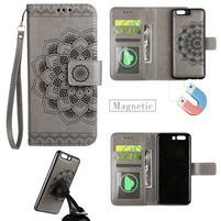 Mandala PU kožené zapínací pouzdro na mobil Huawei P10 - šedé