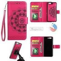 Mandala PU kožené zapínací pouzdro na mobil Huawei P10 - rose