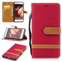Jeany textilní/PU kožené pouzdro na Huawei P10 - červené