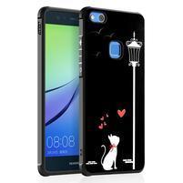 Black gelový obal na Huawei P10 Lite - kočka pod lampou
