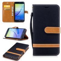 Jeany textilní/PU kožené peněženkové pouzdro na Huawei P10 Lite - černé
