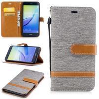 Jeany textilní/PU kožené peněženkové pouzdro na Huawei P10 Lite - šedé
