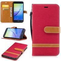 Jeany textilní/PU kožené peněženkové pouzdro na Huawei P10 Lite - červené