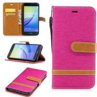 Jeany textilní/PU kožené peněženkové pouzdro na Huawei P10 Lite - rose