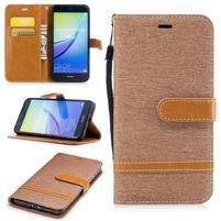 Jeany textilní/PU kožené peněženkové pouzdro na Huawei P10 Lite - khaki