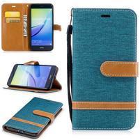 Jeany textilní/PU kožené peněženkové pouzdro na Huawei P10 Lite - modrozelené