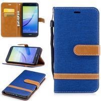Jeany textilní/PU kožené peněženkové pouzdro na Huawei P10 Lite - modré
