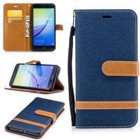Jeany textilní/PU kožené peněženkové pouzdro na Huawei P10 Lite - tmavěmodré