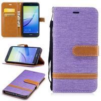 Jeany textilní/PU kožené peněženkové pouzdro na Huawei P10 Lite - fialové