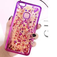 Romantic přesýpací gelový obal na Huawei P10 Lite - květinový motiv