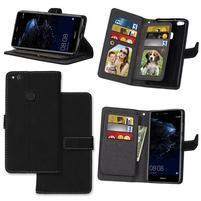 Matte PU kožené knížkové pouzdro na Huawei P10 Lite - černé