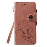 Roses PU kožené pouzdro s poutkem na Huawei P10 Lite - růžové