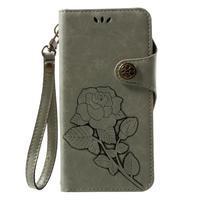 Roses PU kožené pouzdro s poutkem na Huawei P10 Lite - cyan
