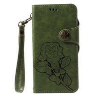 Roses PU kožené pouzdro s poutkem na Huawei P10 Lite - zelené