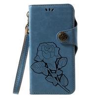 Roses PU kožené pouzdro s poutkem na Huawei P10 Lite - modré