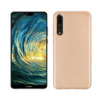 Fiber texturovaný gelový obal na Huawei P20 Pro - zlatý