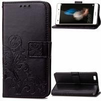 Floral PU kožené pouzdro na Huawei P8 Lite - černé