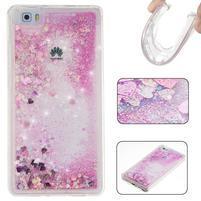 Glitters přesypací obal na mobil Huawei P8 Lite - růžový